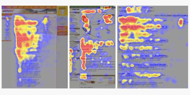 Concentration des yeux sur une page web